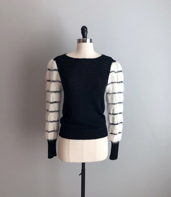 Vintage 80s Black & White Angora Puff Sleeve Sweat