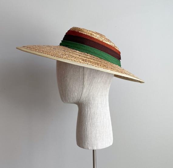 Vintage 40s Wide Brim Straw Sun Hat - image 1