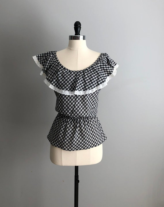 Vintage 70s Black & White Gingham Ruffle Blouse