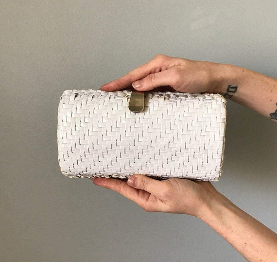 Vintage 60s White Patent Wicker Barrel Clutch