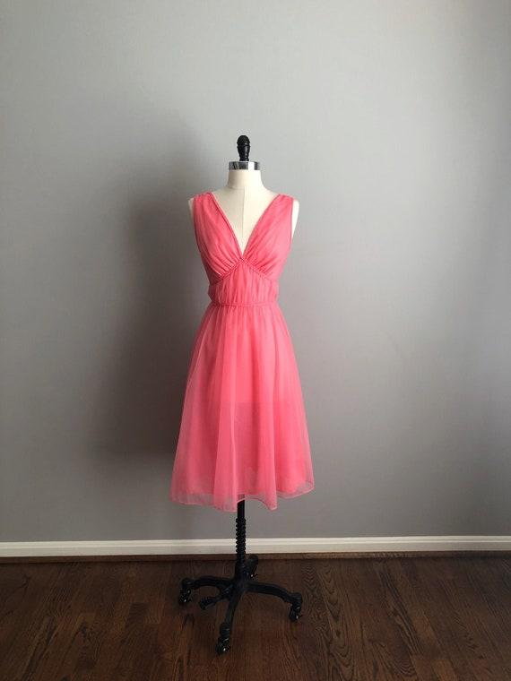 Vintage 60s Pink Nylon Negligee
