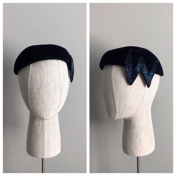 Vintage 50s Navy Blue Beaded Velour Hat