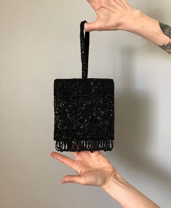 Vintage 60s Black Sequin Beaded Clutch- MINT CONDI