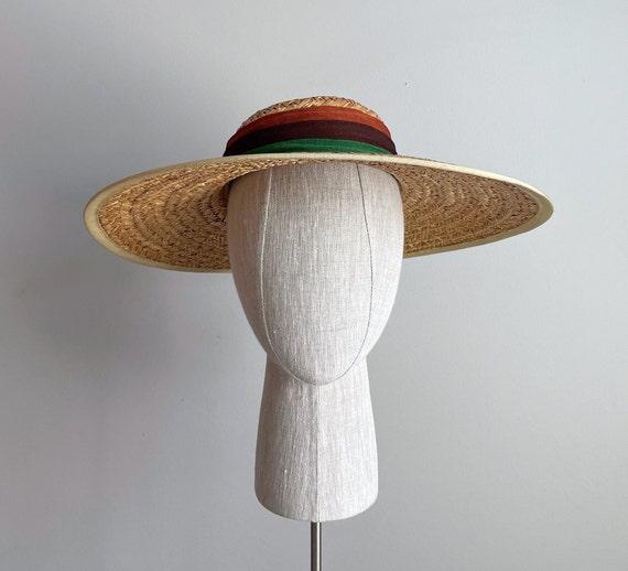 Vintage 40s Wide Brim Straw Sun Hat - image 2