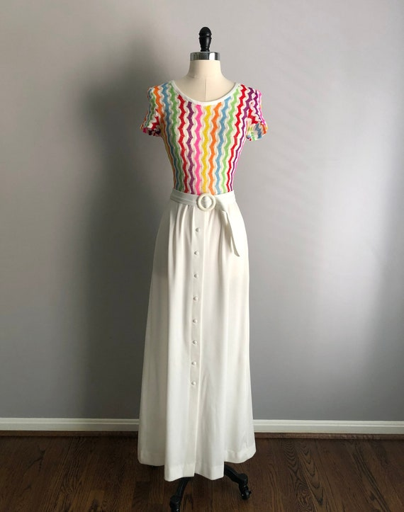 Vintage 60s Rainbow Knit Maxi Dress