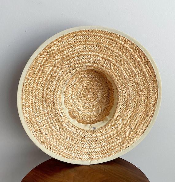Vintage 40s Wide Brim Straw Sun Hat - image 5