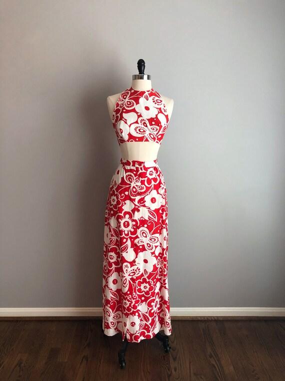 Vintage 60s Red Floral Crop Top Maxi Skirt Set