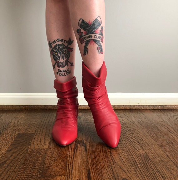 Vintage 80s Red Leather Ankle Boots