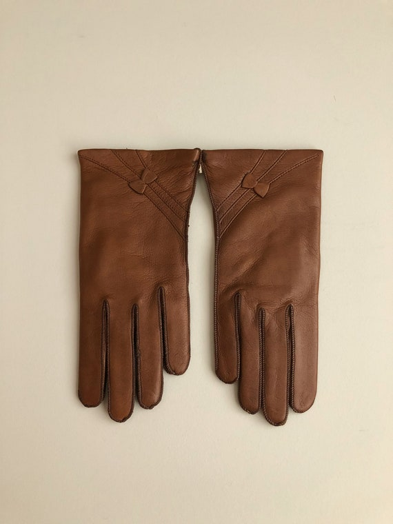 Vintage 70s Brown Leather Winter Gloves