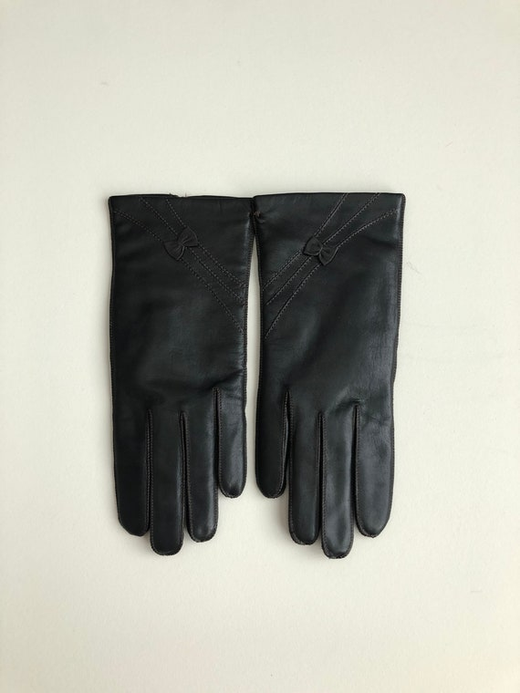 Vintage 70s Dark Brown Leather Winter Gloves
