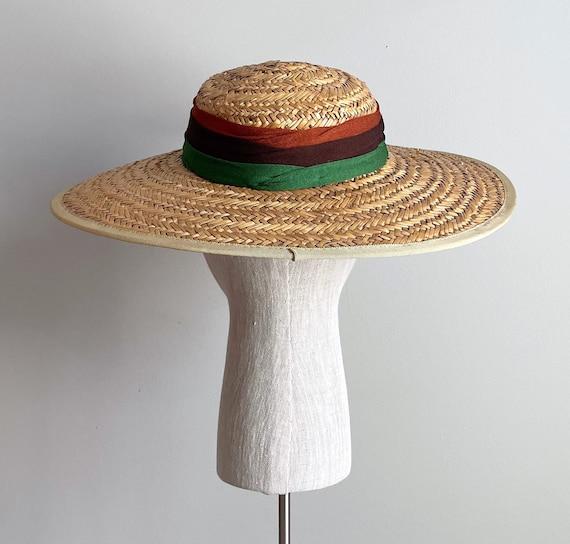 Vintage 40s Wide Brim Straw Sun Hat - image 3