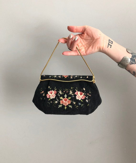 Vintage 50s French Embroidered Black Beaded Clutch