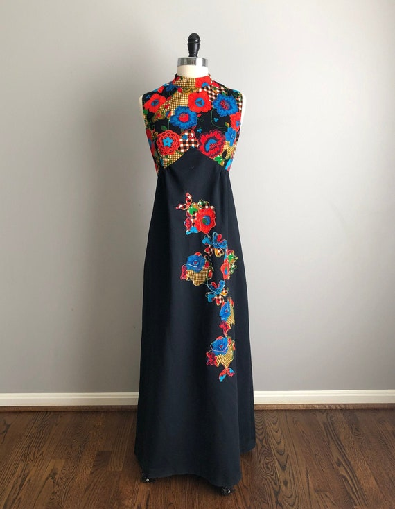 Vintage 60s Floral Black Dress