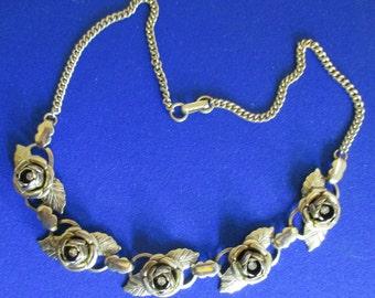 "Gold tone Cabbage Rose & rhinestones Necklace, 16"", vintage Estate Jewelry N121"
