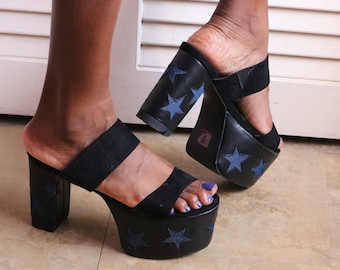 180f35b63ec0 Vintage Denim Star Platform Heels