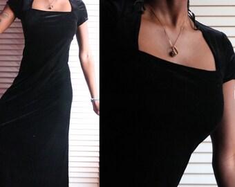 90s Aquamarine Velvet Dress