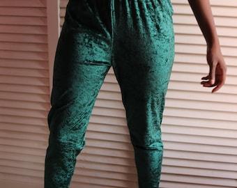 Vintage Green Crushed Velvet Leggings