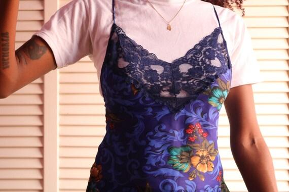 Vintage Navy Blue Floral Slip Dress - image 4