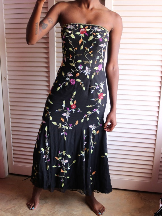 Vintage Black Floral Sequin Gown