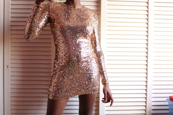 Retro Gold Sequin Dress