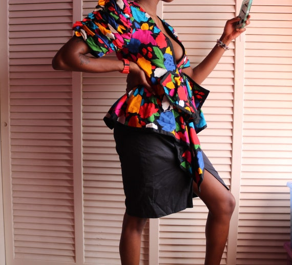 Vintage 80s Colorful Floral Fluffy Shoulder Dress - image 4