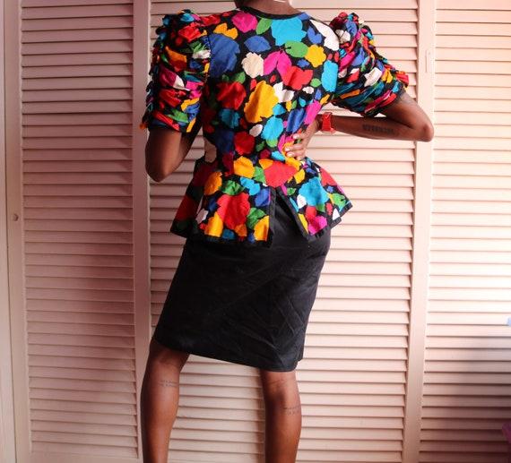 Vintage 80s Colorful Floral Fluffy Shoulder Dress - image 3