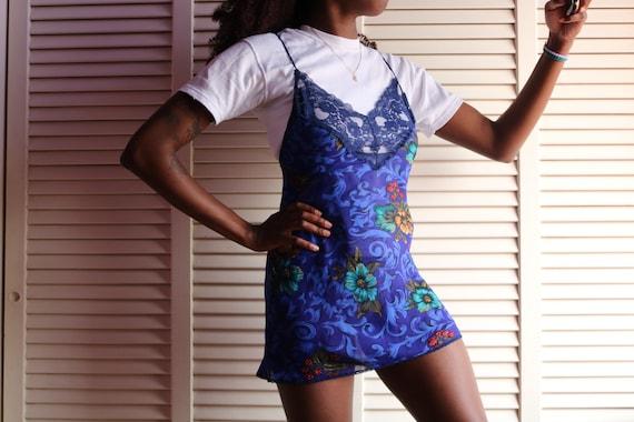Vintage Navy Blue Floral Slip Dress - image 3