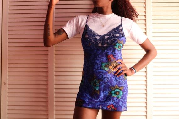 Vintage Navy Blue Floral Slip Dress - image 1
