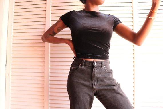 Vintage 90s Black Velvet Crop Top
