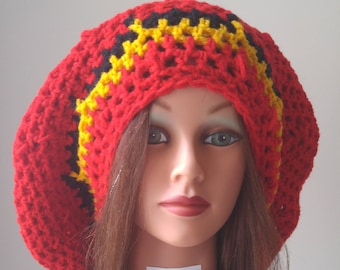 Accessories, Handmade crochet slouchy, rasta hat, red, gold black