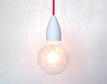 White Pendant Light Fit Big wih cutom cord color