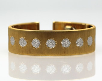 """BUCCELLATI Brushed/Textured 18k Yellow and White Gold Cuff Bracelet 3/4"""" Wide"""