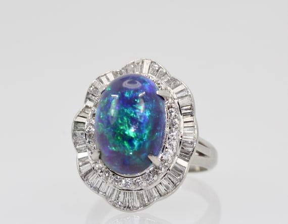 Black Opal Platinum Diamond Ring 4.13 Carats