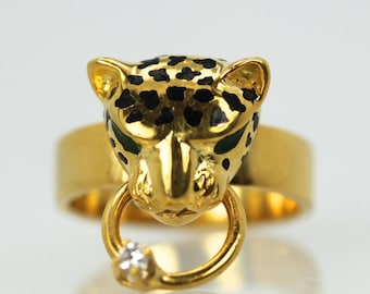 14K Enamel Cougar Ring with Black Spotted Head & Diamond on Ring