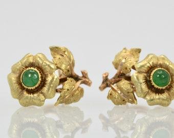 Buccellati Jade Flower Earrings 18K