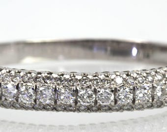 Diamond Bangle Bracelet 5.64 Carats 18K White Gold