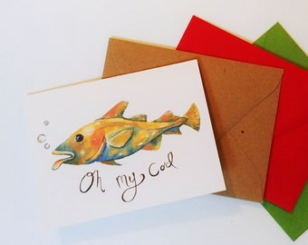Funny Fish Greeting Card Oh My Cod All Occasion Fishing Birthday Watercolor Fishermen