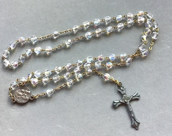 Vintage Sterling Clear Faceted Glass Beads Rosary Necklace 50% OFF Rosaries Collectibles