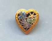 Vintage Gold Enamel Heart Pin Small Heart Brooch Butterfly Design Blue, Green Purple Lapel Pin