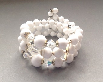 White Milk Glass and Crystal Bead Bracelet/Vintage Memory Wire Bracelet/ Three Rows - Coiled Wire/ Small to Medium Wrist - 1960's
