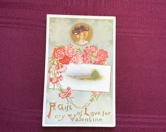 Antique Valentine Postcard/Red and Pink Carnations with Rural Scene/ Floral Heart/Collectible Ephemera - 1910