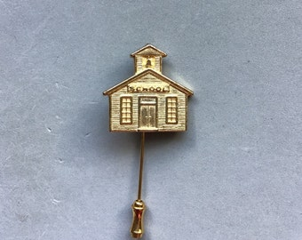Gold School House Stickpin and Apple Pin/Teachers Gift/ Vintage Pins/Lapel Pin/ Tie Pin/ Hat Pin /Unisex Gift