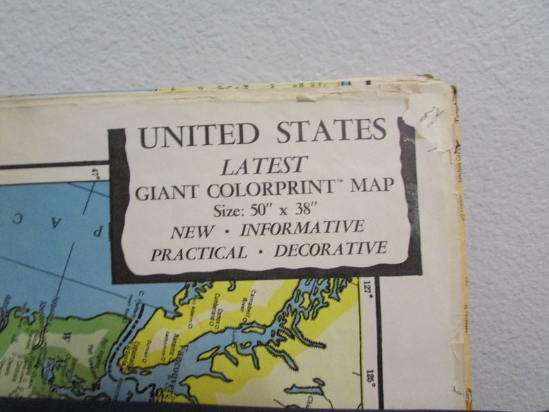 American Map Company Inc.Colorprint Map Of The Us With Portions Of Canada And Northern Etsy