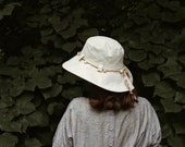Women's sun hat with mulberry paper roses, sun protection hat, Irish linen hat