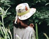 Women's butterfly sun hat, sun protection hat, butterfly hat, linen hat, cotton hat, foldable packable hat, travel hat