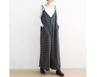 e7c61abc472 Womens Autumn Loose Fitting Plaid Cotton Linen Overalls With Pockets