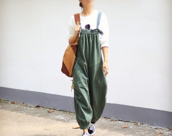 5529cc55fc0 Womens Loose Fitting Cotton Jumpsuits Overalls Pants With Pockets