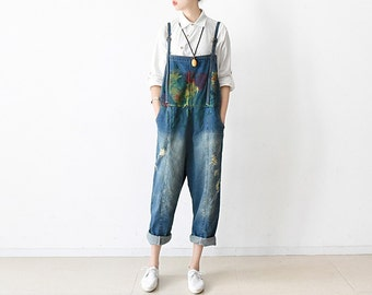 61b22a0c50f Womens Retro Loose Fitting Cotton Jumpsuits Overalls Pants With Pockets