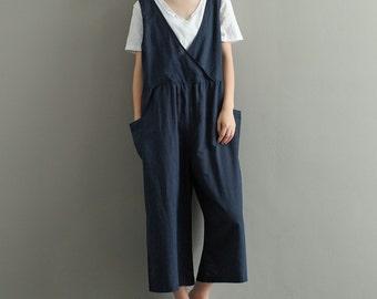 e46c8ecd08d Womens Summer Retro Cotton Linen Jumpsuits Overalls Pants With Pockets
