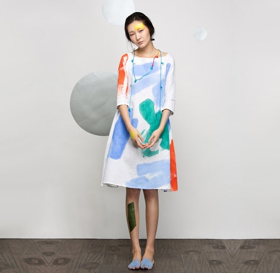 Dress Womens Bust Summer Pockets Loose Fitting Linen Travel Casual Dress Hand Ink Dress gt;120CM With Painting Dress ZZ6wPxrCq